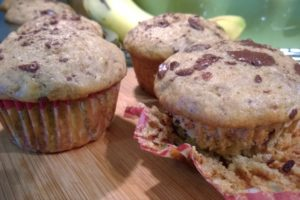 Banana Walnut Chocolate Chunk and Yogurt Muffins